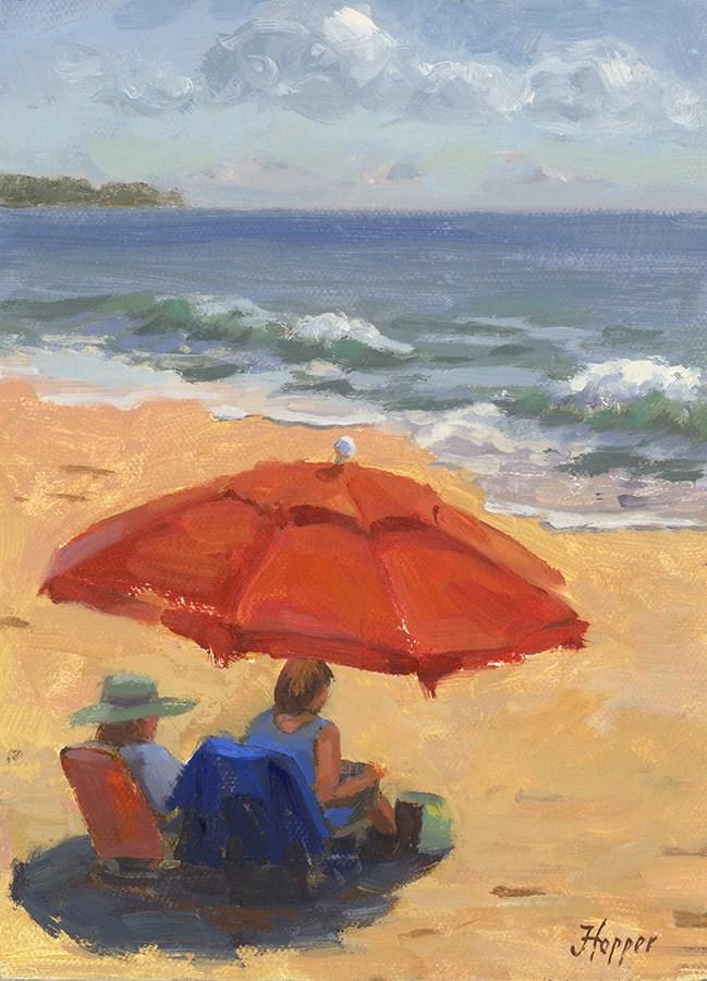 """""""Beach Umbrella"""" original fine art by Joanne Hopper"""