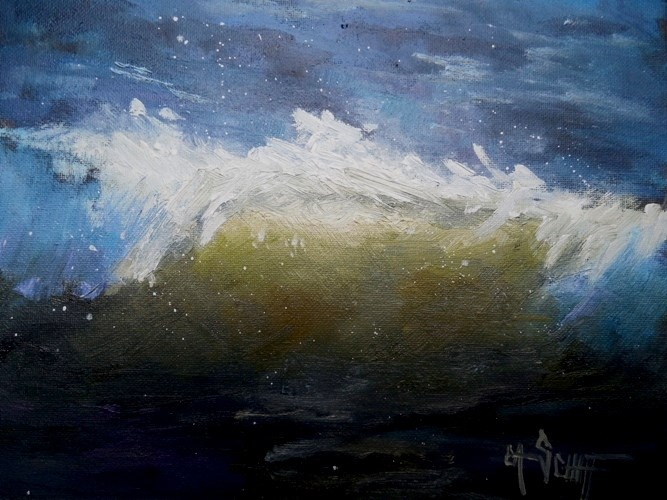 """Small Seascape Wave Painting, Daily Painting Small Oil Painting, 6x8 Oil"" original fine art by Carol Schiff"