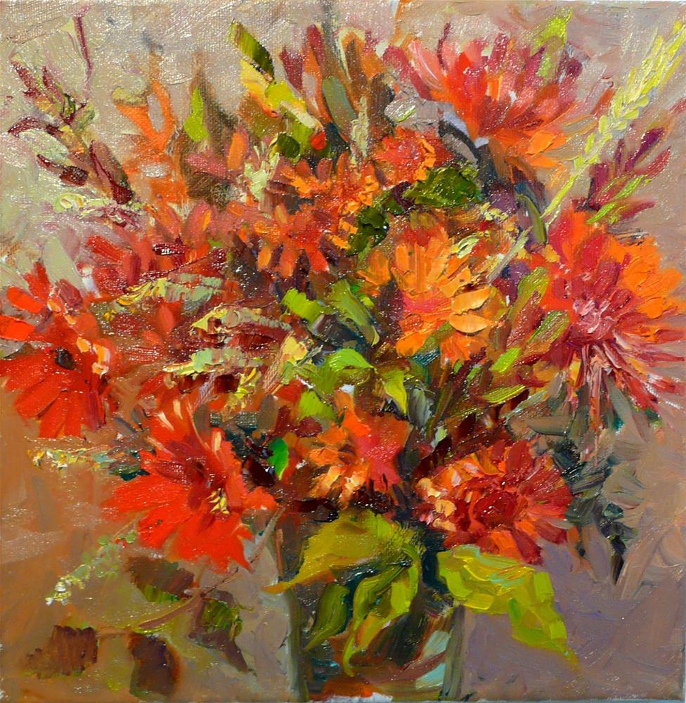 """Thanksgiving Bouquet,still life,oil on canvas,12x12,price$350"" original fine art by Joy Olney"