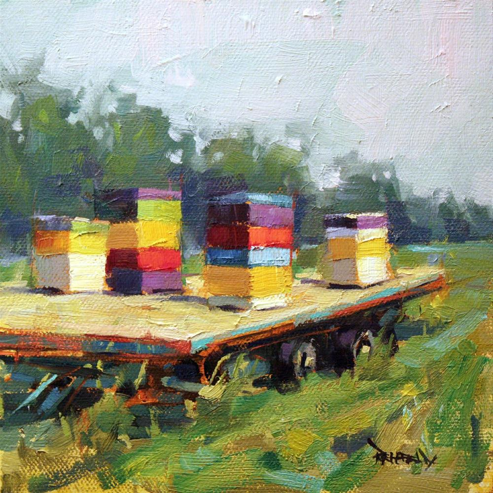 """Bee Boxes in the Orchard"" original fine art by Cathleen Rehfeld"