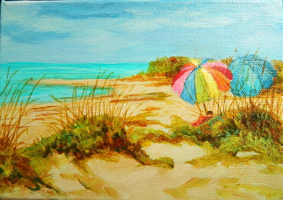 """Beach Umbrella"" original fine art by Gloria Urban"