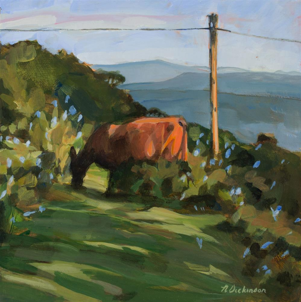 """Cow on Bearwallow Mountain"" original fine art by Nat Dickinson"