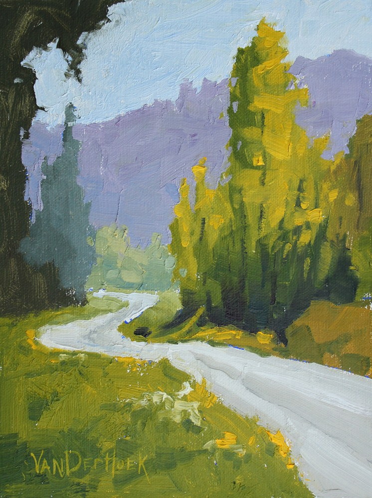 """Emerald Avenue - A Study - Original Oil Painting of Trees Along a Road"" original fine art by Kim VanDerHoek"