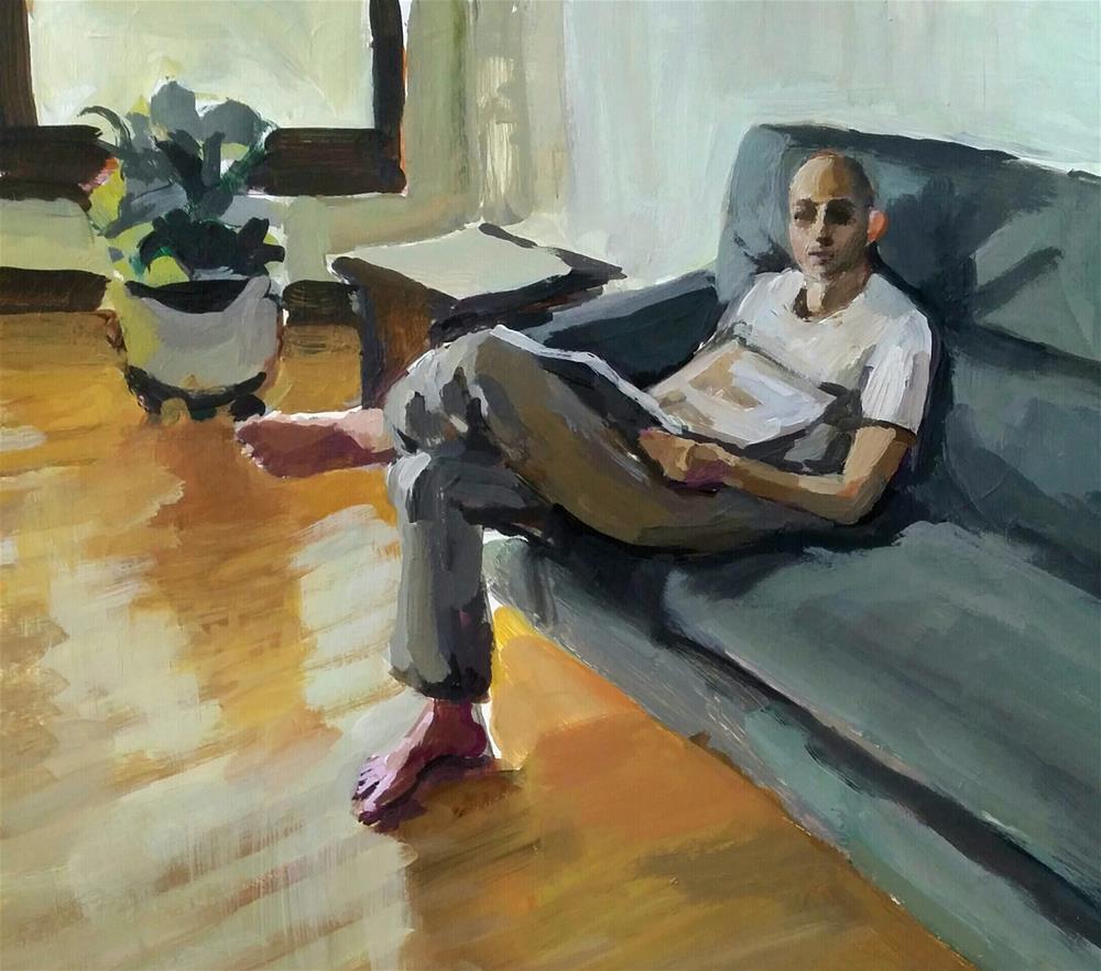 """Morning Paper"" original fine art by Liz Maynes"