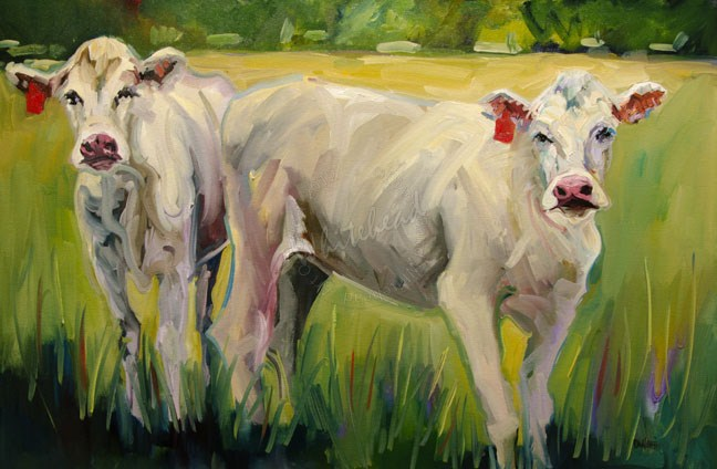 """COWS CATTLE ARTOUTWEST DIANE WHITEHEAD FINE ART OIL PAINTING"" original fine art by Diane Whitehead"