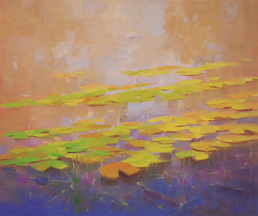 """Waterlilies Fall Original oil Painting on Canvas one of a Kind"" original fine art by V Y"