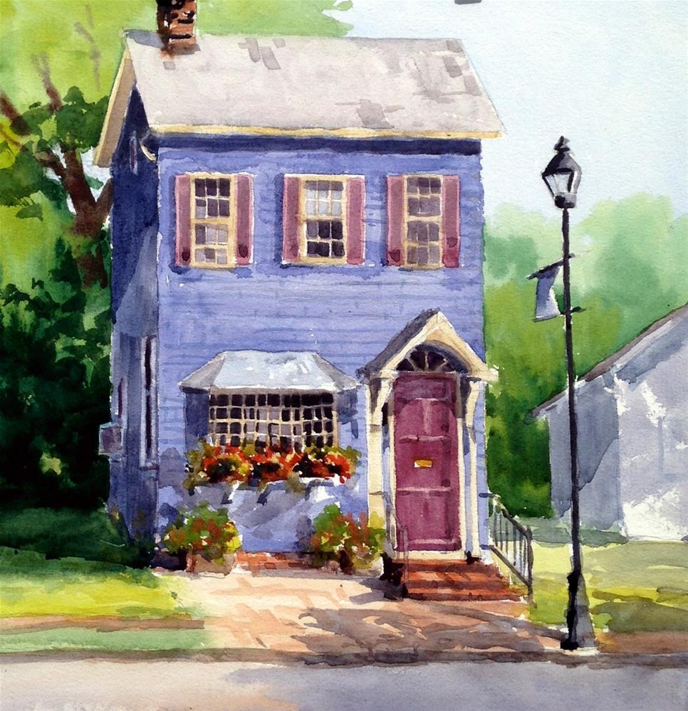 """Blue Cottage"" original fine art by Tina Bohlman"