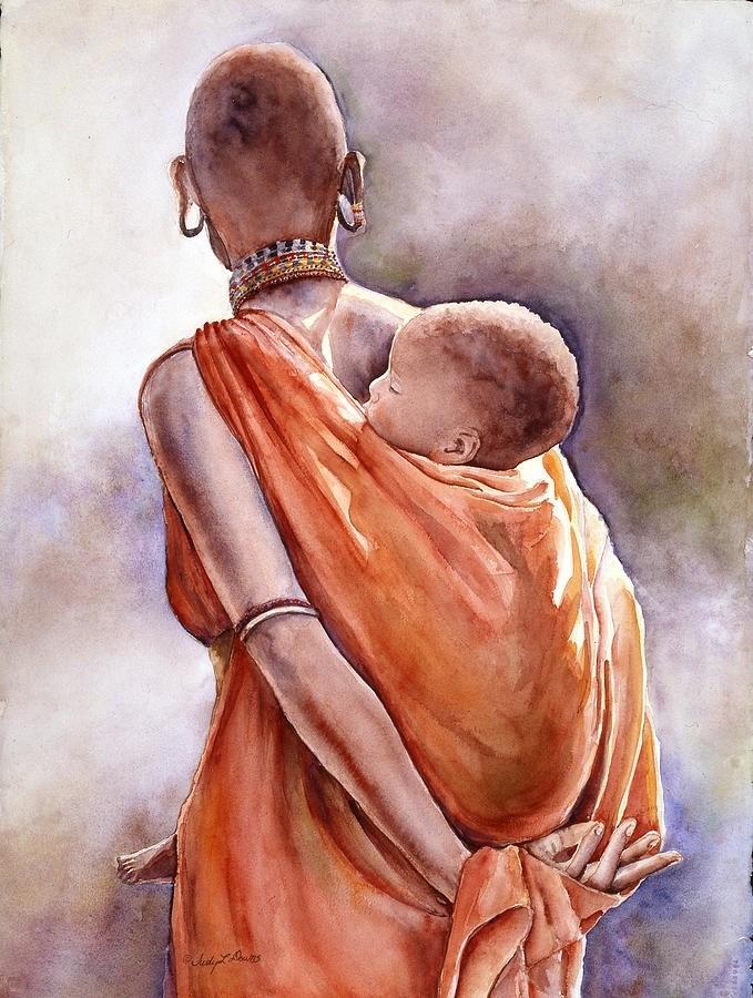 """""""Massai Mother II"""" original fine art by Judy Downs"""