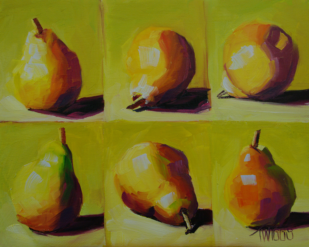 """Six Pears"" original fine art by Lori Twiggs"
