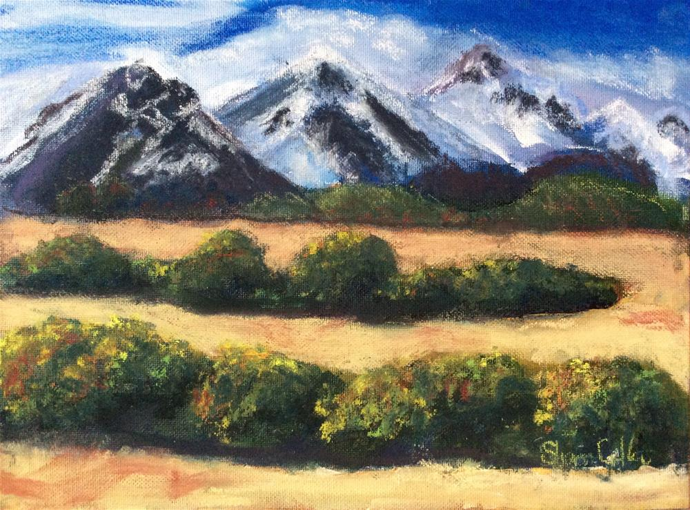 """Snow Capped Mountains"" original fine art by Sharon Cullen"