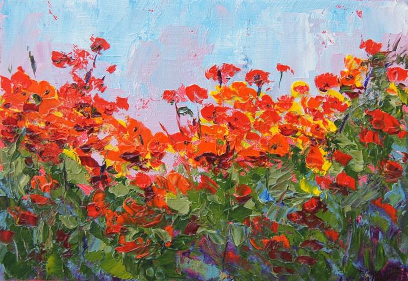 """Poppy Abundance Palette Knife Painting in Oil"" original fine art by Marion Hedger"