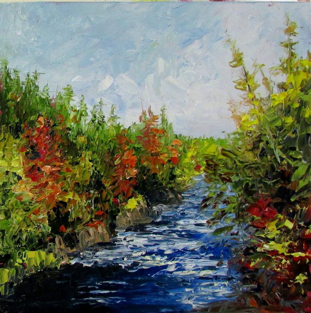 """8 x 8  inch oil Moser river #2"" original fine art by Linda Yurgensen"