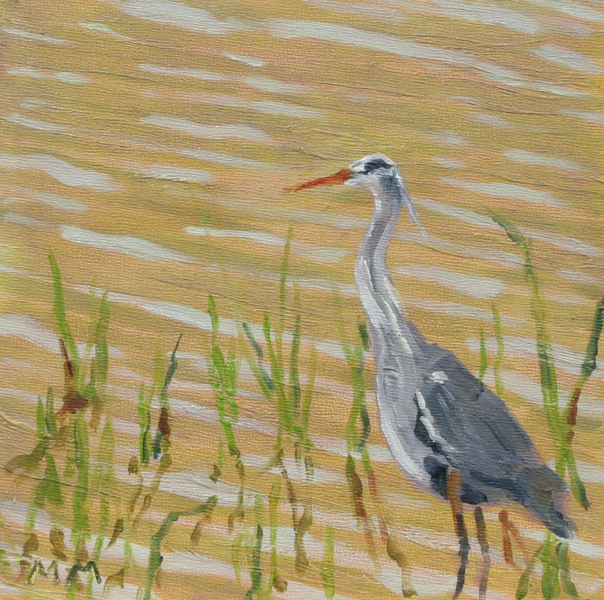 """Blue Heron"" original fine art by Maria McNitt"