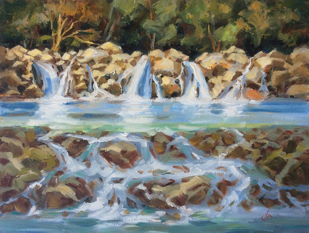 """WATERFALL IN THE WOODS"" original fine art by Tom Brown"