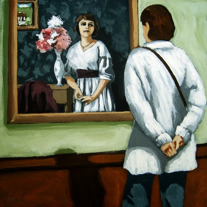 """Now and Then - woman viewing art @ museum figurative art"" original fine art by Linda Apple"