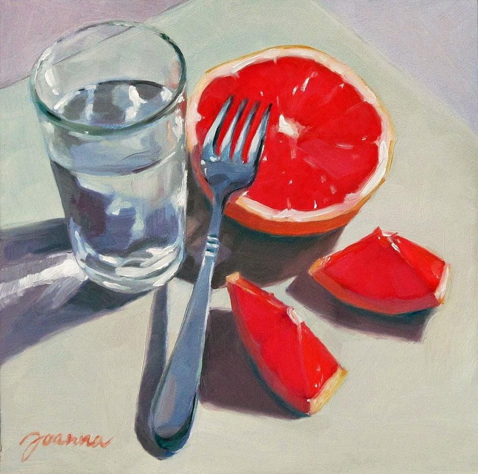 """Passiona Vs. Calm-2--Still life with Grapefruit"" original fine art by Joanna Bingham"