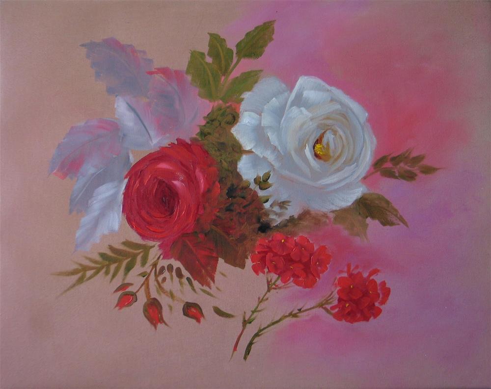 """Roses and Geraniums"" original fine art by Richard St.Jean"