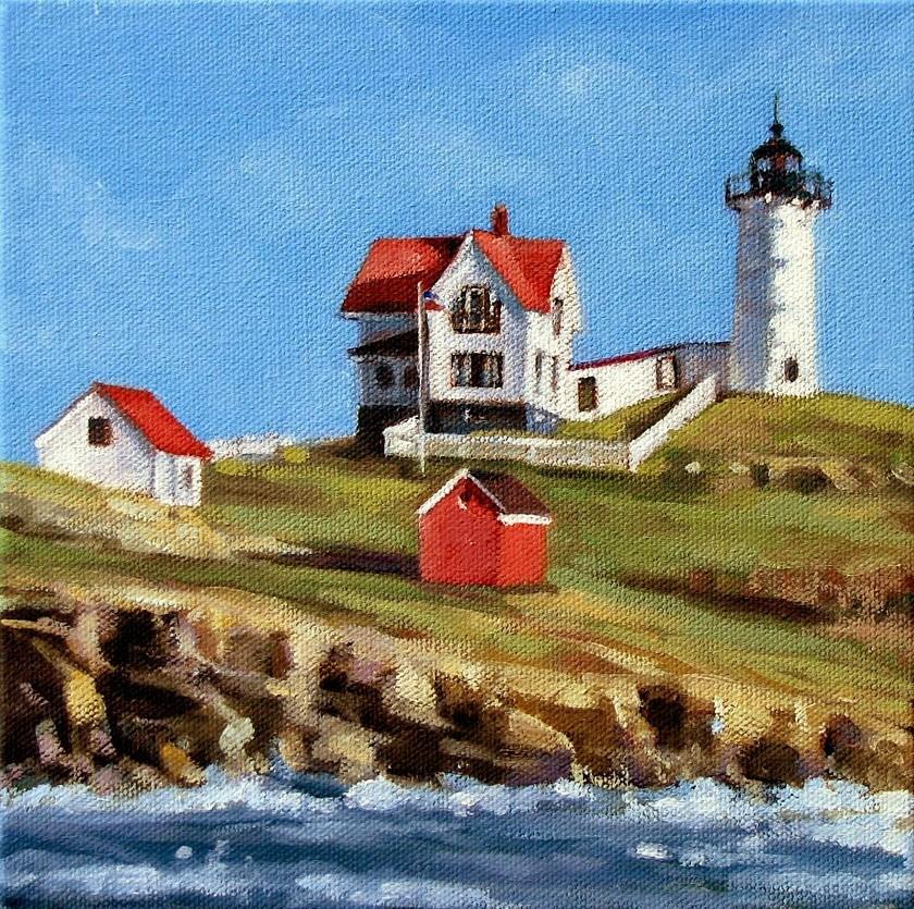 """Nubble Lighthouse"" original fine art by Joanna Bingham"