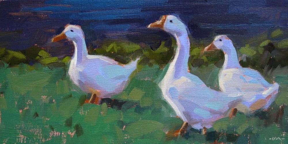 """Three Geese"" original fine art by Carol Marine"