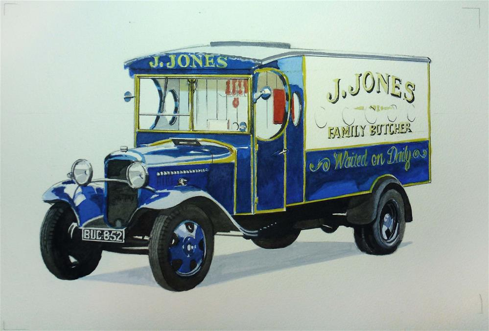 """Jones the Butchers Van from UK TV series Dad's Army"" original fine art by John Monney"