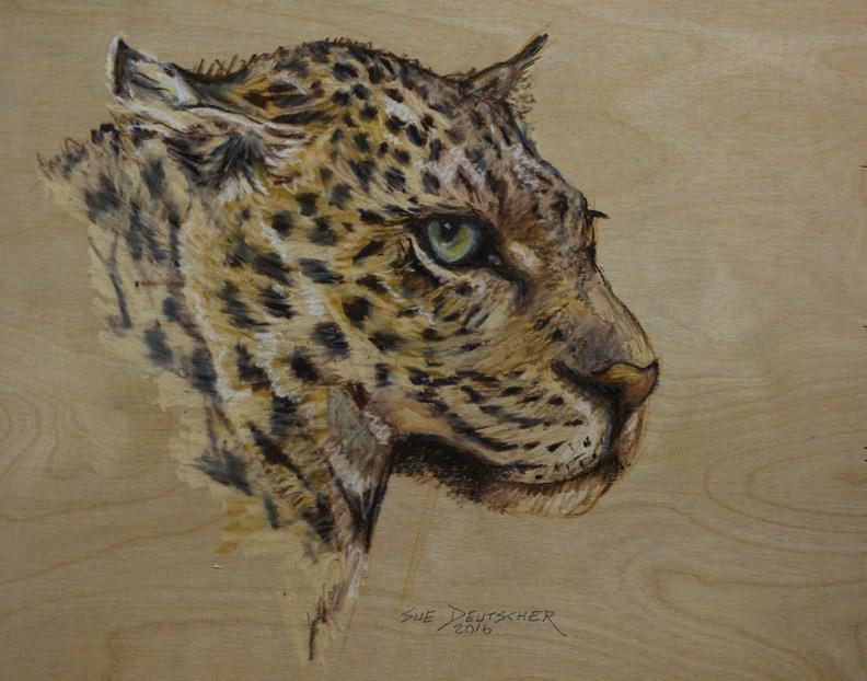"""""""Leopard"""" original fine art by Sue Deutscher"""