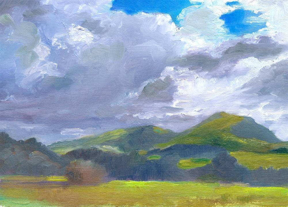"""Cloudscape, North Wales"" original fine art by Christine Derrick"