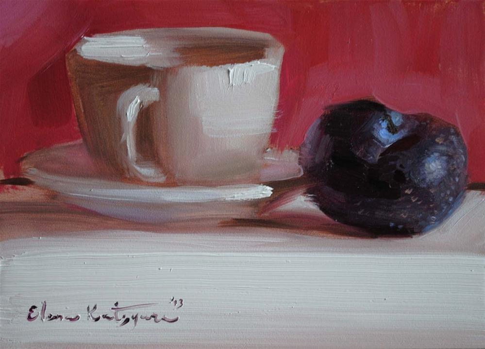 """A Cup and a Plum"" original fine art by Elena Katsyura"