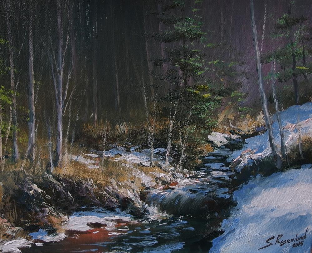 """""""Snowmelt in spring"""" original fine art by Stig Rosenlund"""