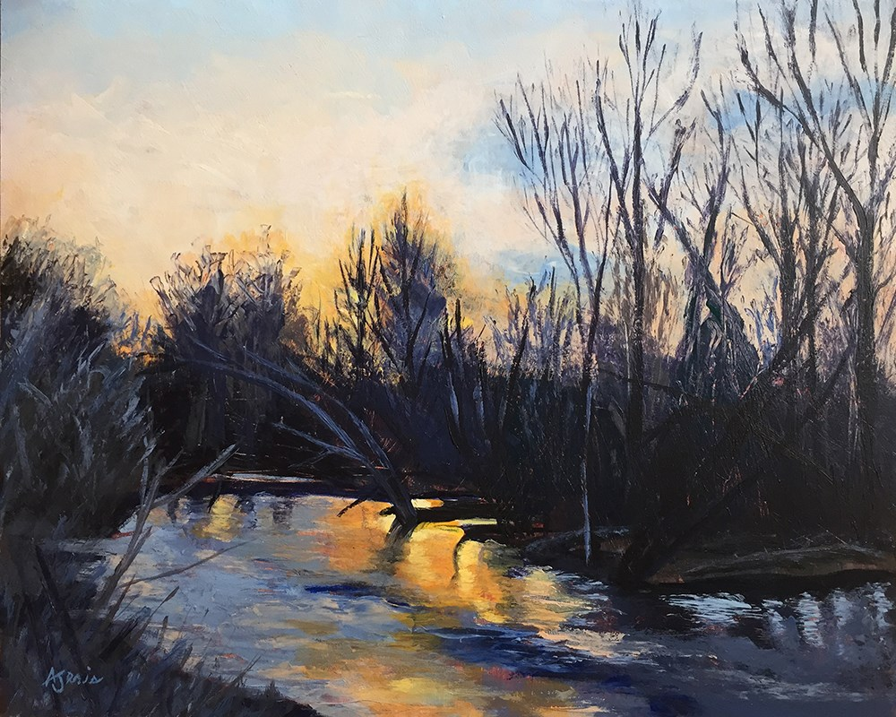 """Sunset on the River"" original fine art by Andrea Jeris"