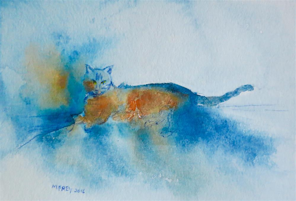 """Cat 0123"" original fine art by Michelina Frey"