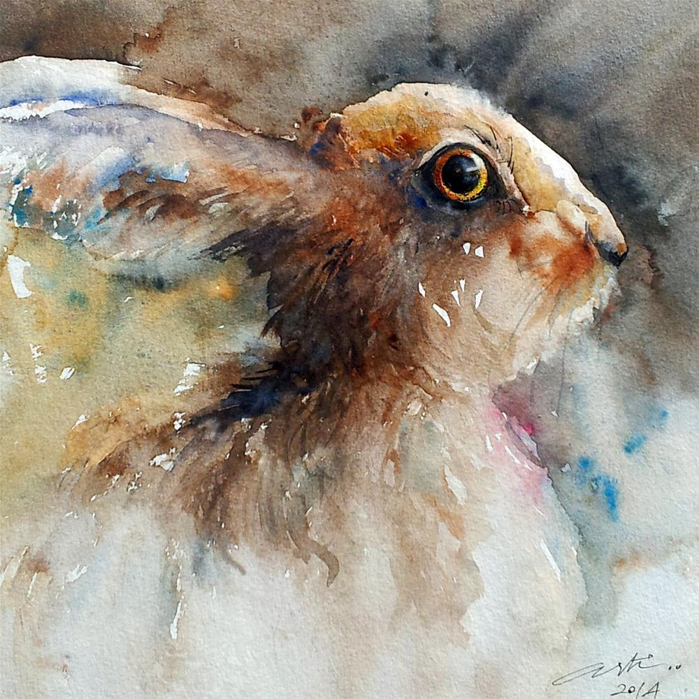 """Dusky Brown Hare"" original fine art by Arti Chauhan"