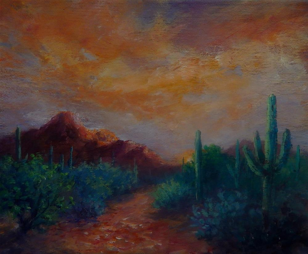 """Arizona Sunset"" original fine art by Sharon Kay Baker"