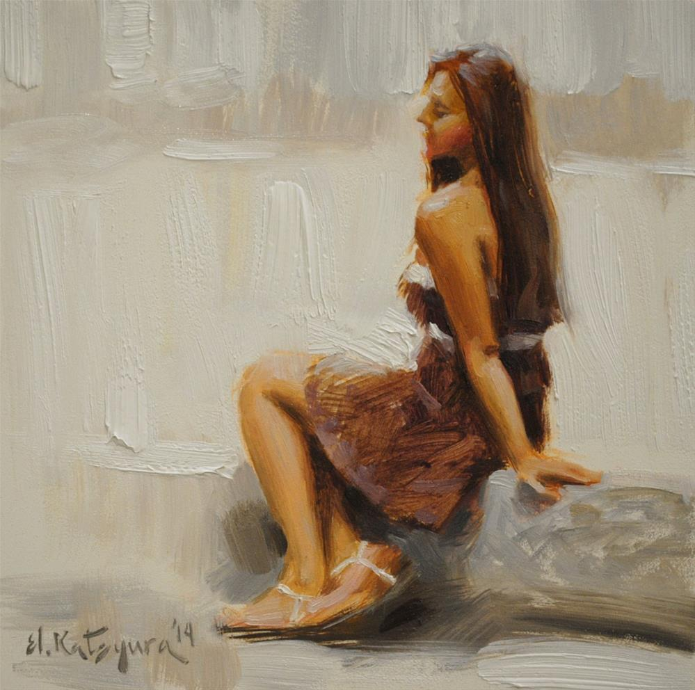 """Chocolate Dress"" original fine art by Elena Katsyura"
