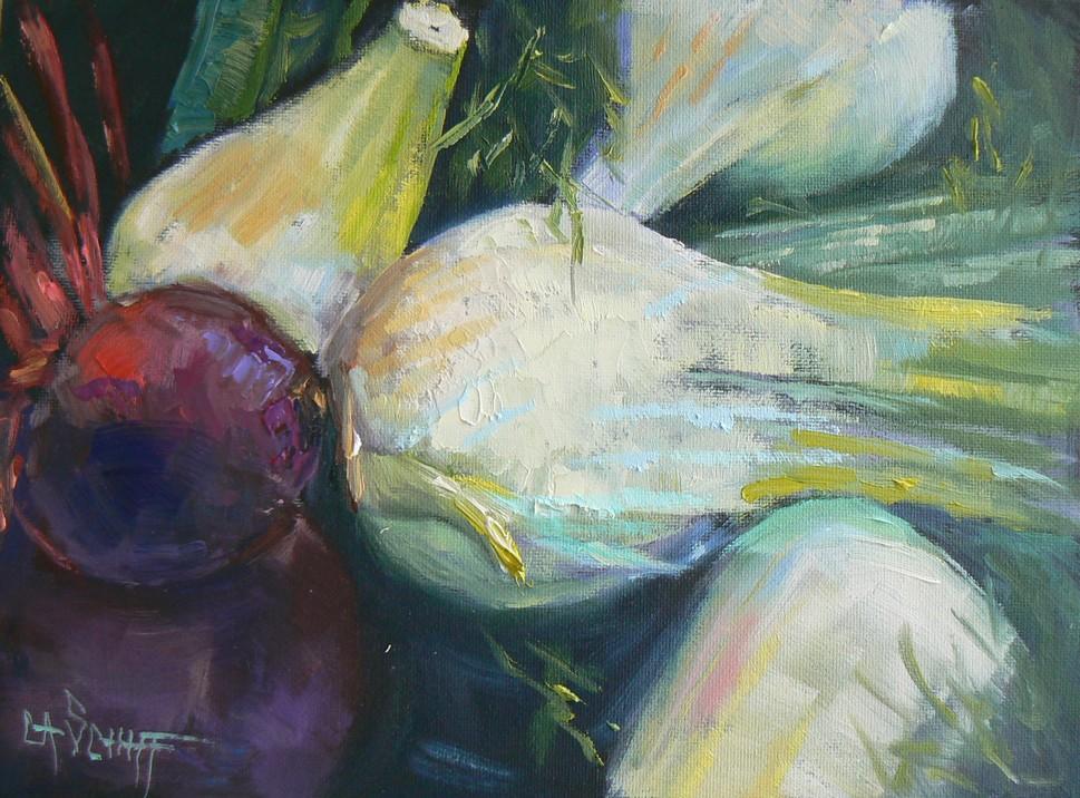 """BEET AND FENNEL SALAD, 6X8, OIL"" original fine art by Carol Schiff"
