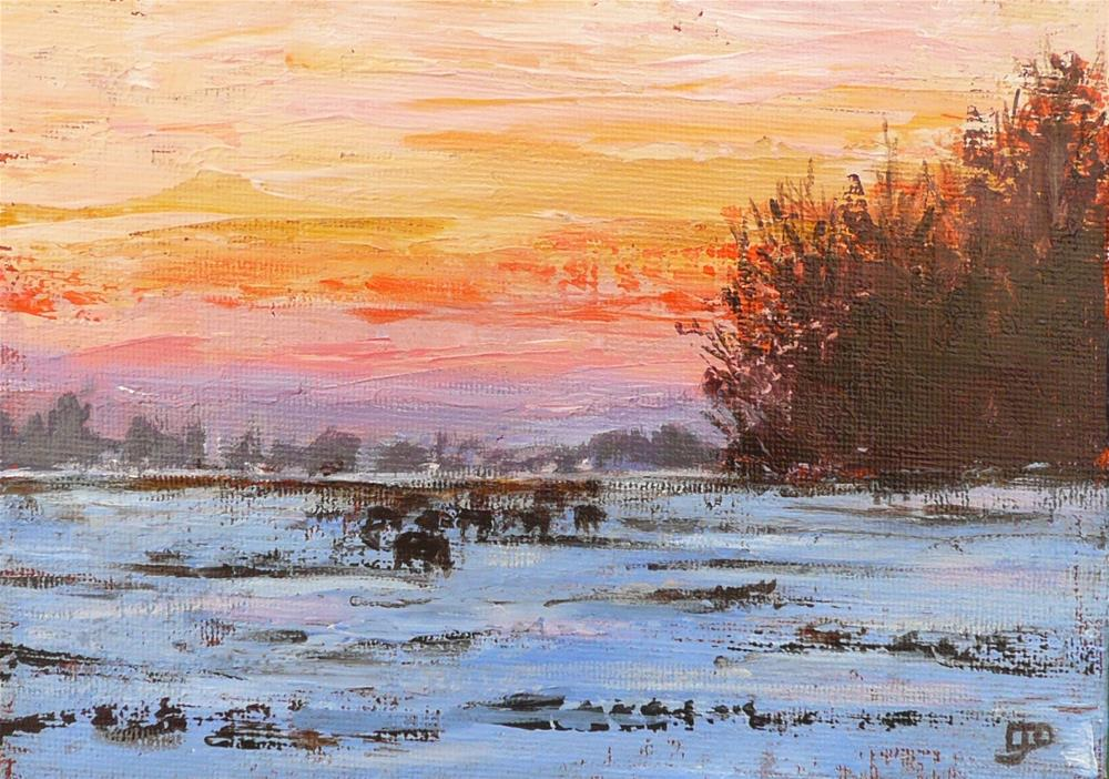 """Sunset Over Snow"" original fine art by Leanne Owen"