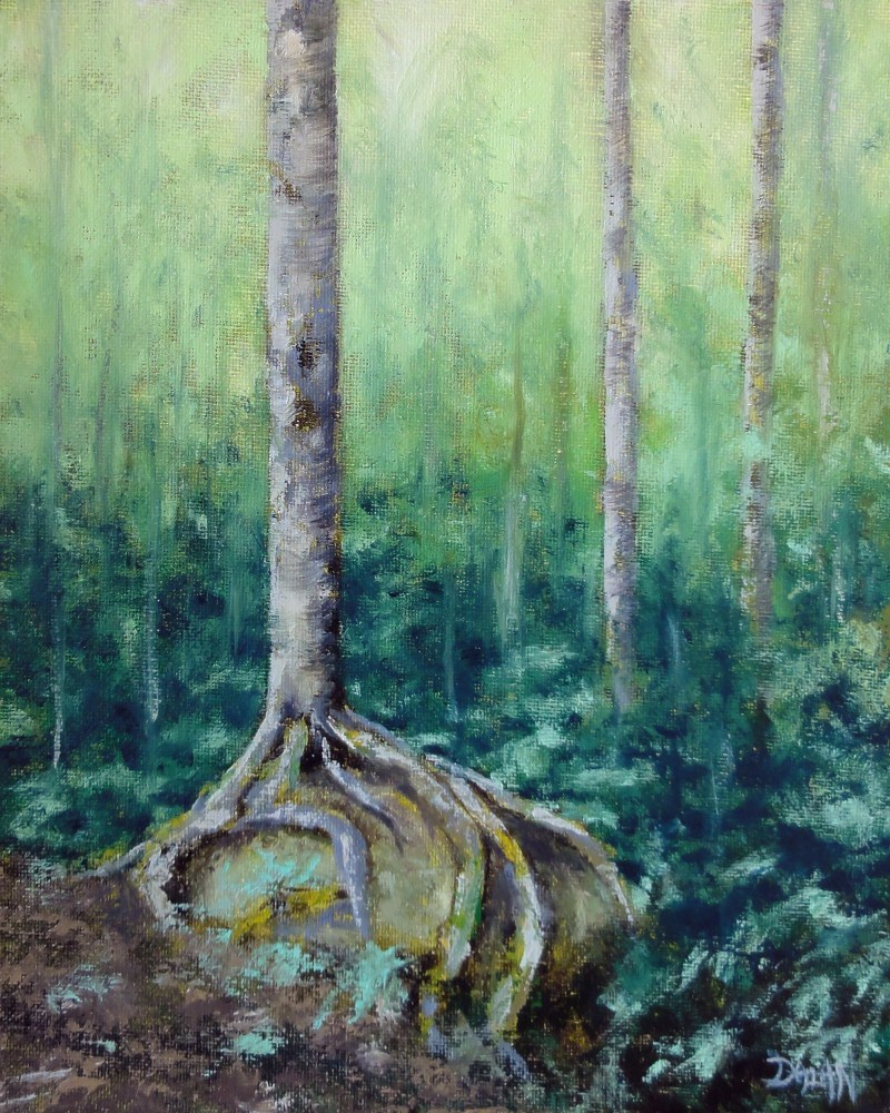 """Birch Tree Boulder Hug"" original fine art by Dalan Wells"