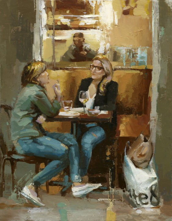 """After Shopping"" original fine art by Victor Bauer"