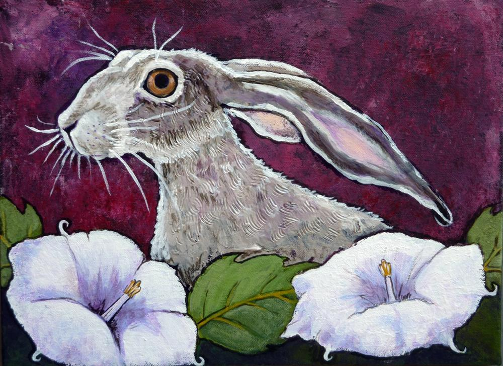 """Moonflower Jackrabbit"" original fine art by Ande Hall"