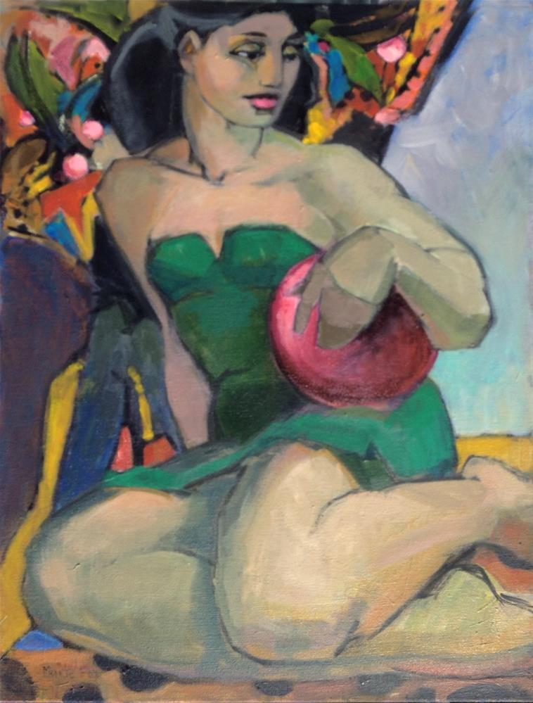 """The Red Ball, figurative painting woman at beach, female figuration, bathing suit, summer ocean, con"" original fine art by Marie Fox"