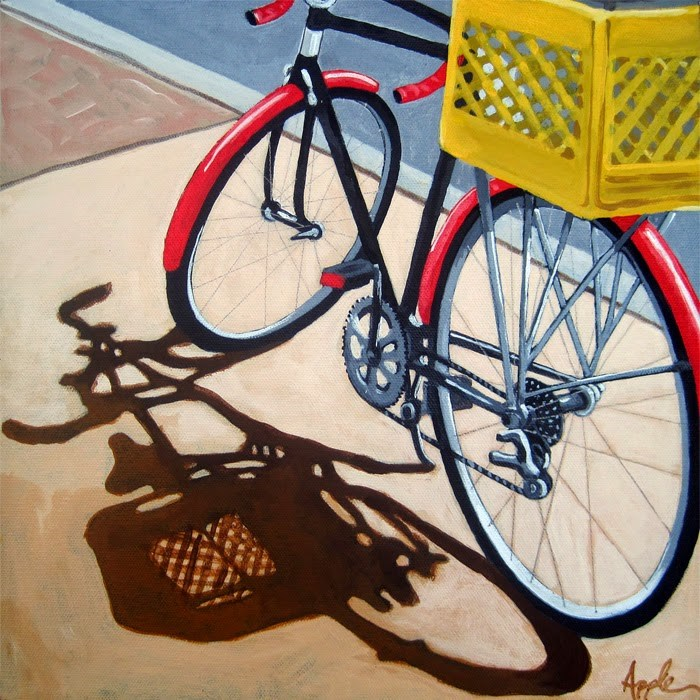 """Red Bike Yellow Basket bicycle art"" original fine art by Linda Apple"