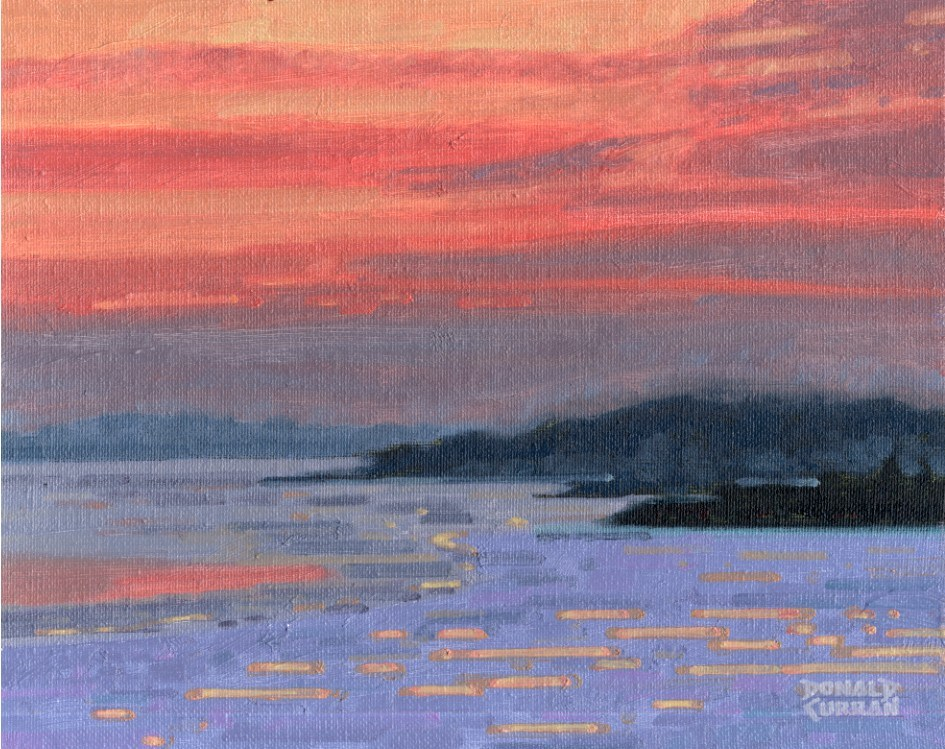 """Winter Sunset"" original fine art by Donald Curran"