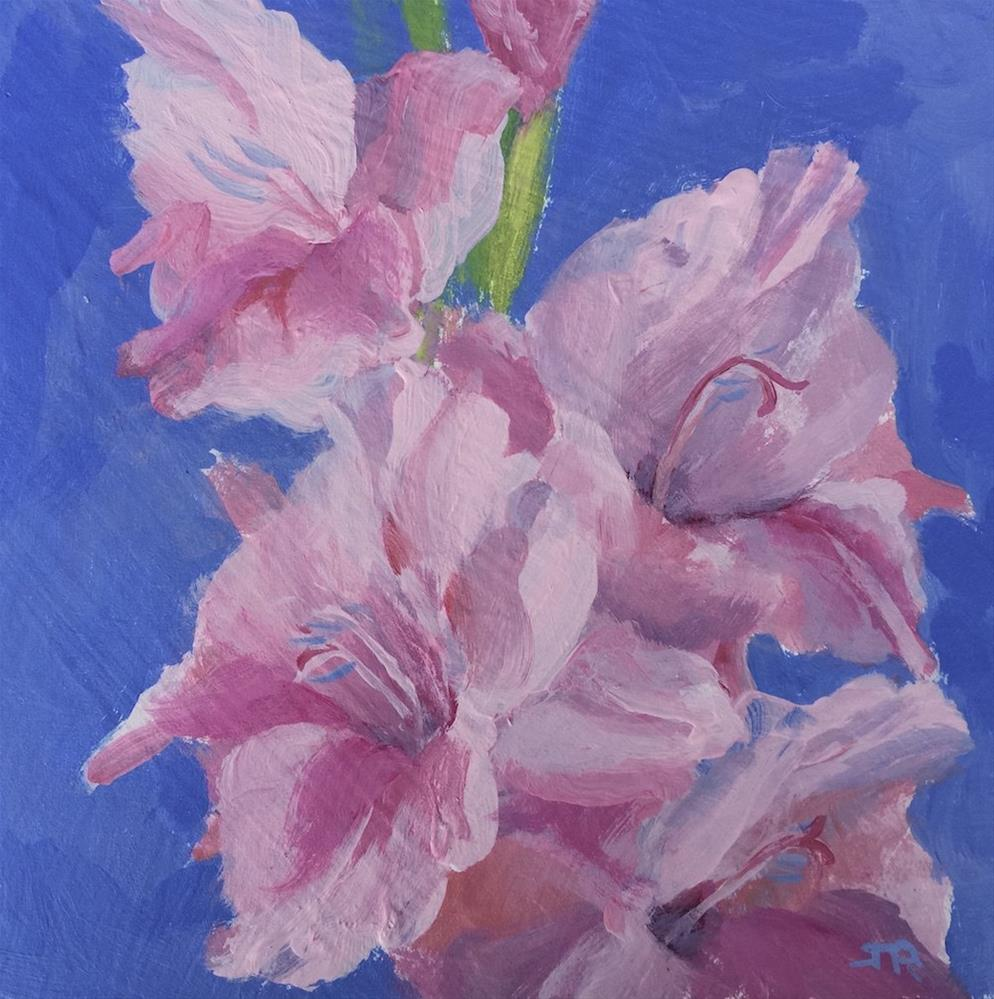 """Pink Gladiolus"" original fine art by June Rollins"