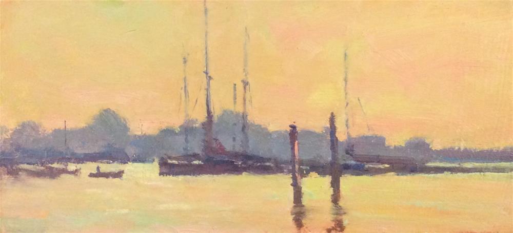 """""""Last light Brightlingsea"""" original fine art by John Shave"""