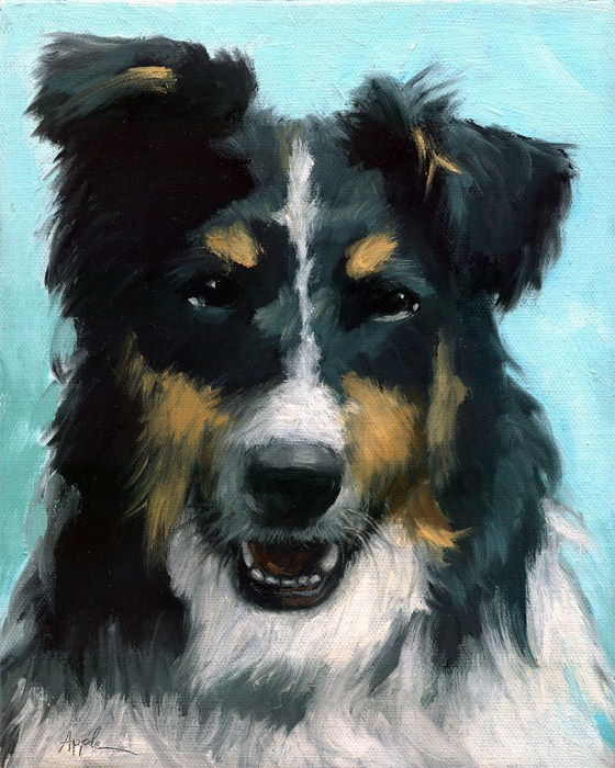 """Ozzie dog portrait"" original fine art by Linda Apple"