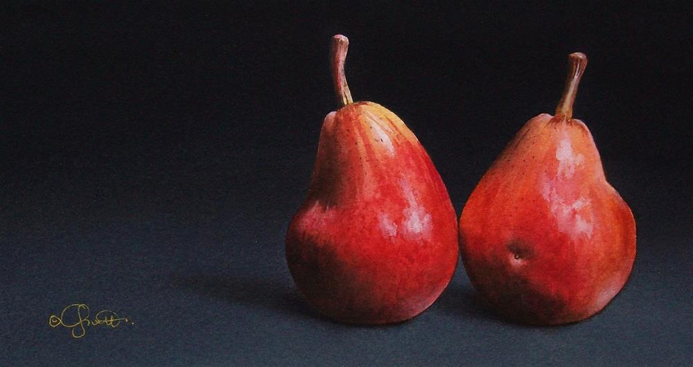 """Two Red Pears"" original fine art by Jacqueline Gnott, whs"