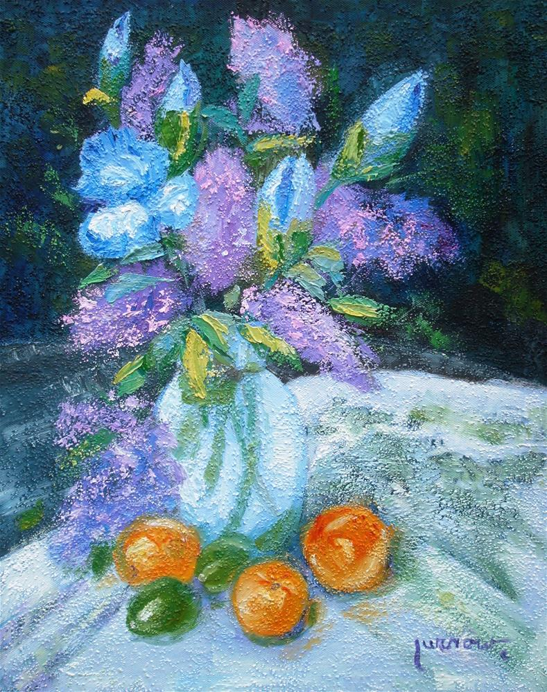 """One Iris with Lilac"" original fine art by Sue Furrow"