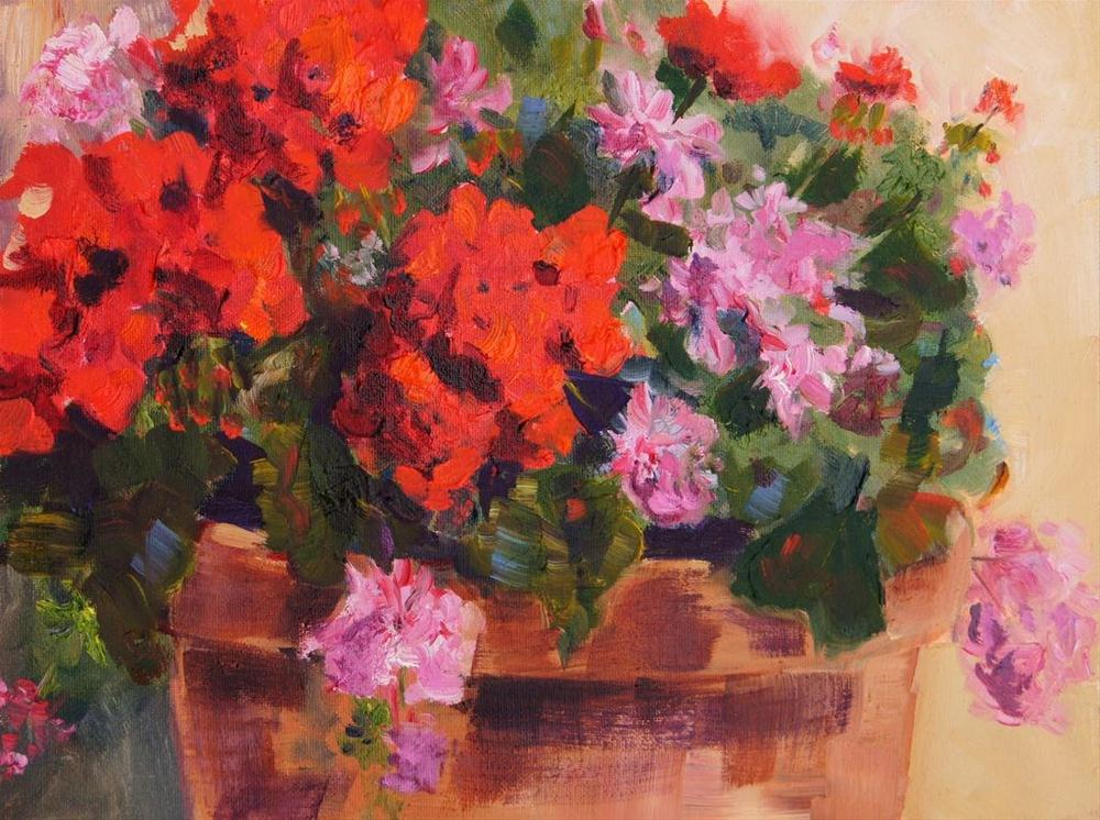 """Sunny Geraniums by Marion Hedger"" original fine art by Marion Hedger"