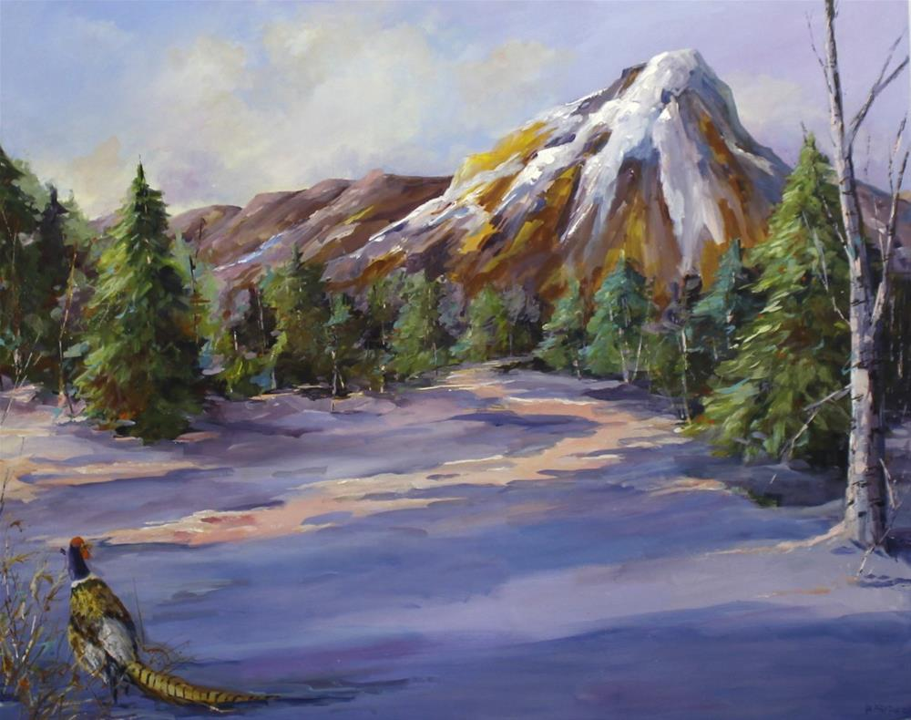 """Original Colorado Pheasant Winter Aspen Pine Landscape Mountain Painting"" original fine art by Alice Harpel"