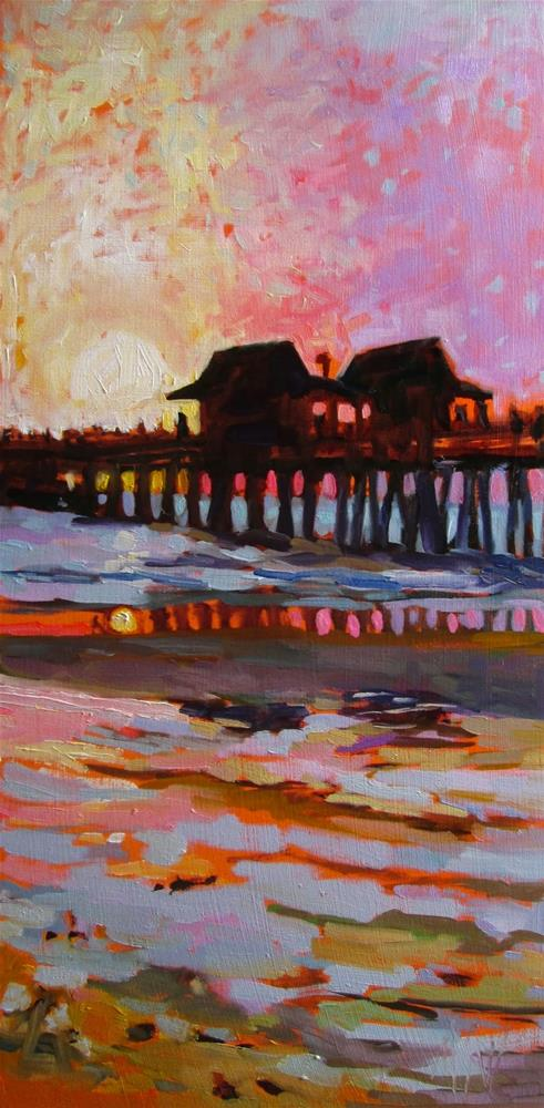 """Naples Pier Sunset I pushed the color on this but let me just say that this scene is dazzling!"" original fine art by Mary Sheehan Winn"