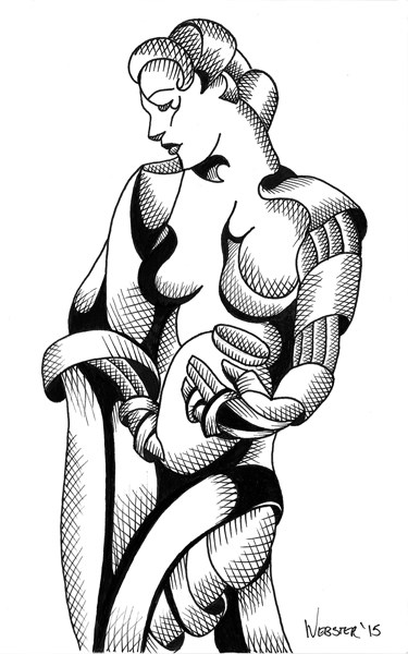 """Mark Webster - Woman with Urn - Abstract Nude Figurative Ink Drawing"" original fine art by Mark Webster"